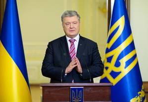 Presidente ucraniano, Petro Poroshenko discursa em igreja de Kiev Foto: HANDOUT / REUTERS