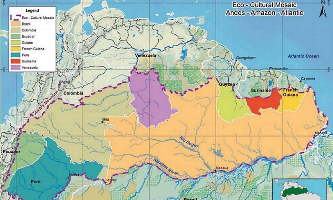 Mapa da proposta do 'Triplo A', de acordo com o projeto do ambientalista colombiano Martín von Hildebrand. Tema, no entanto, não faz parte do Acordo de Paris Foto: Fundação Gaia Amazonas