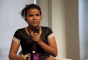 Estudante paraense Franciely Rodrigues durante o Wired Festival Foto: Agência O Globo