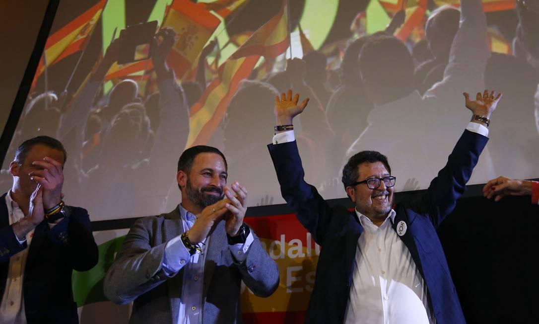 Líderes do Vox celebram conquista de 12 assentos no Parlamento de Andaluzia Foto: MARCELO DEL POZO / REUTERS