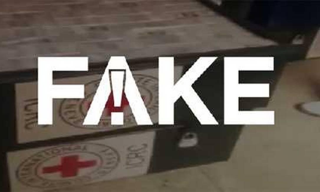 Segundo o CICV, as caixas com dinheiro são identificadas com uma cópia grosseira do emblema da entidade Foto: Reprodução