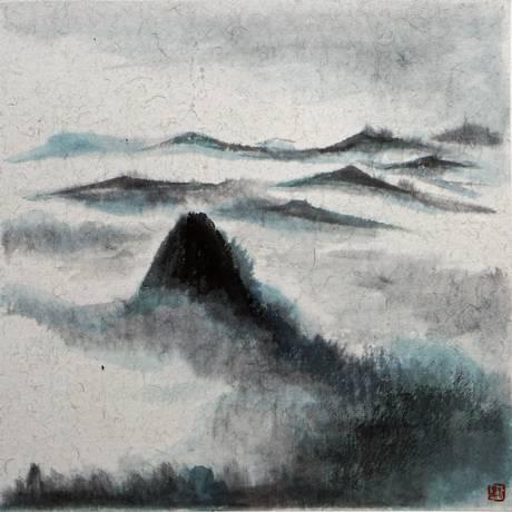 A pintura de Liu Mo, um dos artistas da exposição: nanquim e aguada sobre xuan, papel feito de amoreira, bambu e juta Foto: Divulgação