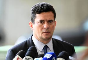 O ex-juiz Sergio Moro, durante entrevista coletiva no CCBB Foto: Evaristo Sá / AFP