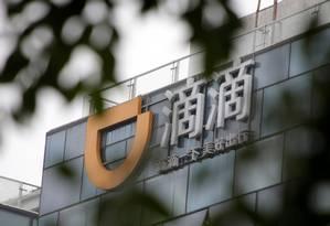 O logotipo de Didi Chuxing é visto em sua sede em Pequim, China Foto: Jason Lee / REUTERS