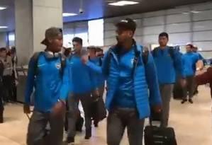 Jogadores do Boca Juniors desembarcaram em Madri Foto: Reprodução