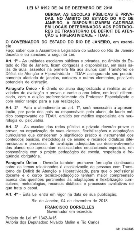 Lei do TDAH foi sancionada pelo governador Francisco Dornelles Foto: Diário Oficial