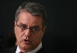 Roberto Azevêdo, diretor-geral da OMC, durante entrevista Foto: Ailton de Freitas / Agência O Globo