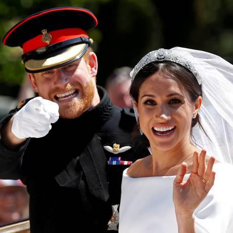 Príncipe Harry e Meghan Markle durante cerimônia de casamento, em Windsor, Reino Unido Foto: DAMIR SAGOLJ / REUTERS