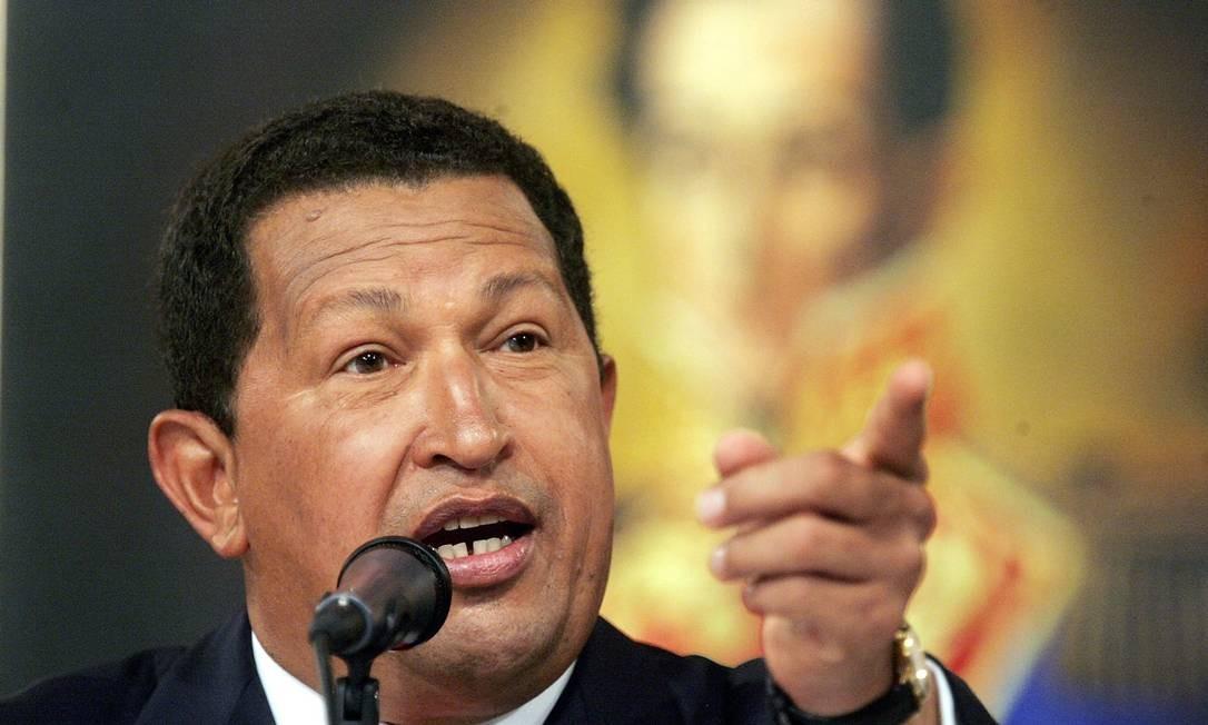 Hugo Chávez em entrevista coletiva no Palácio Miraflores, em Caracas, em 30 de novembro de 2006 Foto: Mario Tama / Getty Images