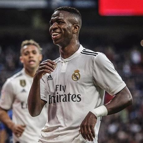 Vinícius Júnior comemora seu gol nos 6 a 1 pela Copa do Rei Foto: Reprodução