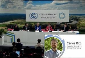 Painel sobre o Brasil na 24ª Conferência do Clima (COP24), sediada em Katowice, na Polônia; à dir., o secretário-executivo do Observatório do Clima, Carlos Rittl. Foto: Reprodução
