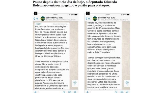 Eduardo Bolsonaro entrou no grupo pouco depois do meio-dia Foto: Reprodução