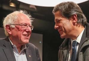 O senador americano Bernie Sanders e Fernando Haddad por ocasião da Internacional Progressista, em Vermont, EUA Foto: Ricardo Stuckert / Divulgação / Facebook