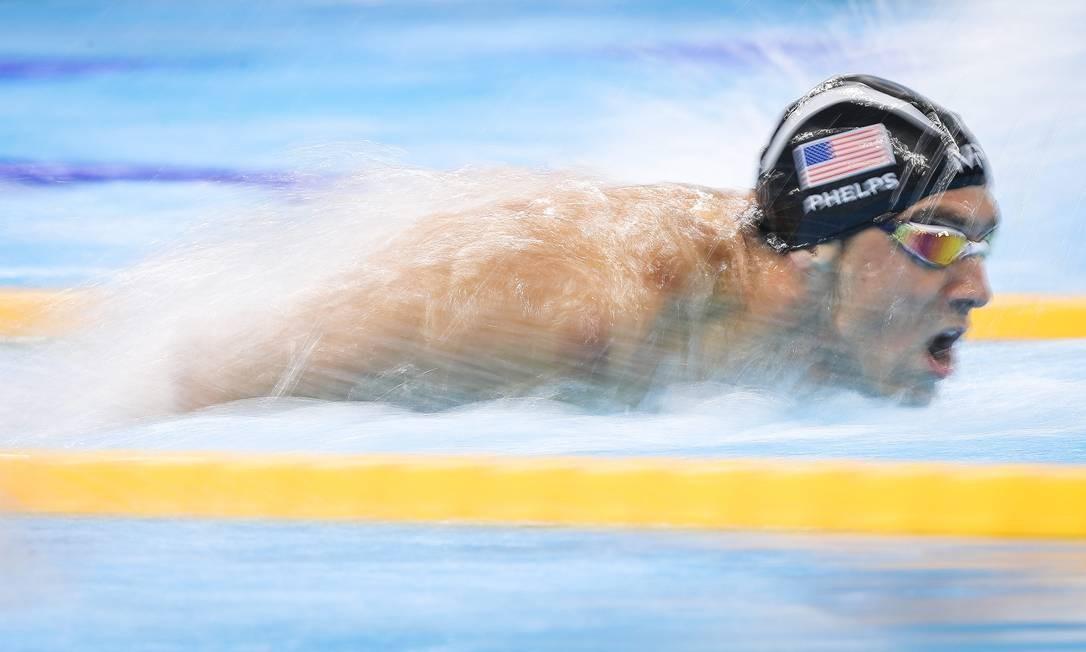 O nadador norte-americano Michael Phelps durante semifinal dos 100m borboleta, nas Olimpíadas Rio 2016. 12/08/2016. Foto: Ricardo Nogueira / Editora Globo. Foto: Ricardo Nogueira / Agência O Globo