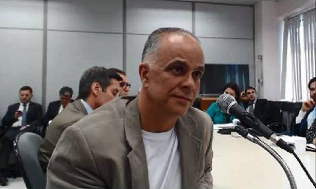 Marcos Valério Fernandes durante depoimento à justiça Foto: Reprodução