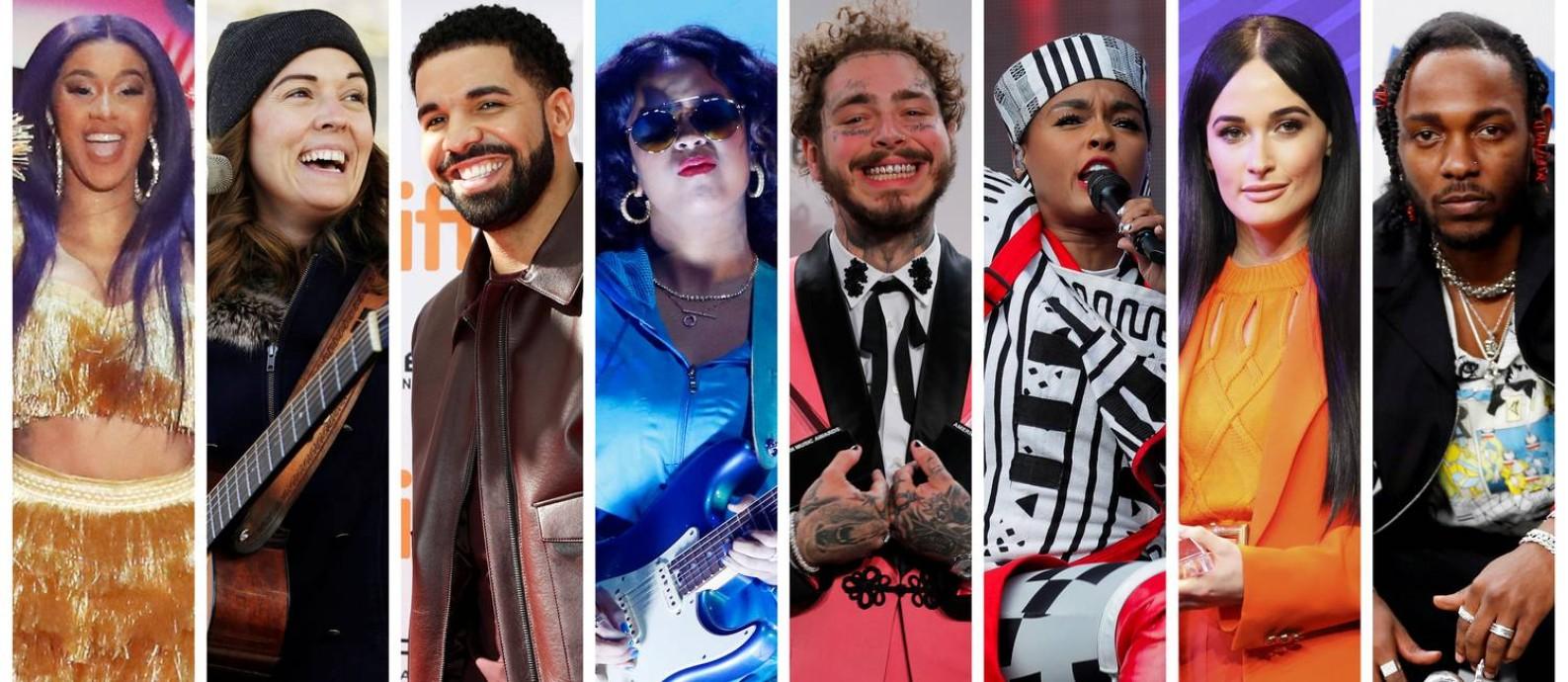 Da esquerda para a direita, os indicados ao prêmio de álbum do ano: Cardi B, Brandi Carlile, Drake, H.E.R., Post Malone, Janelle Monáe, Kacey Musgraves e Kendrick Lamar Foto: REUTERS