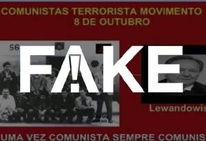 Cartaz #FAKE identifica Ricardo Vilas Boas de Sá Rego como se fosse o ministro Ricardo Lewandowski Foto: Reprodução