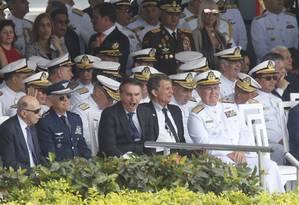 Bolsonaro participou de cerimônia na Escola Naval Foto: Domingos Peixoto / Domingos Peixoto