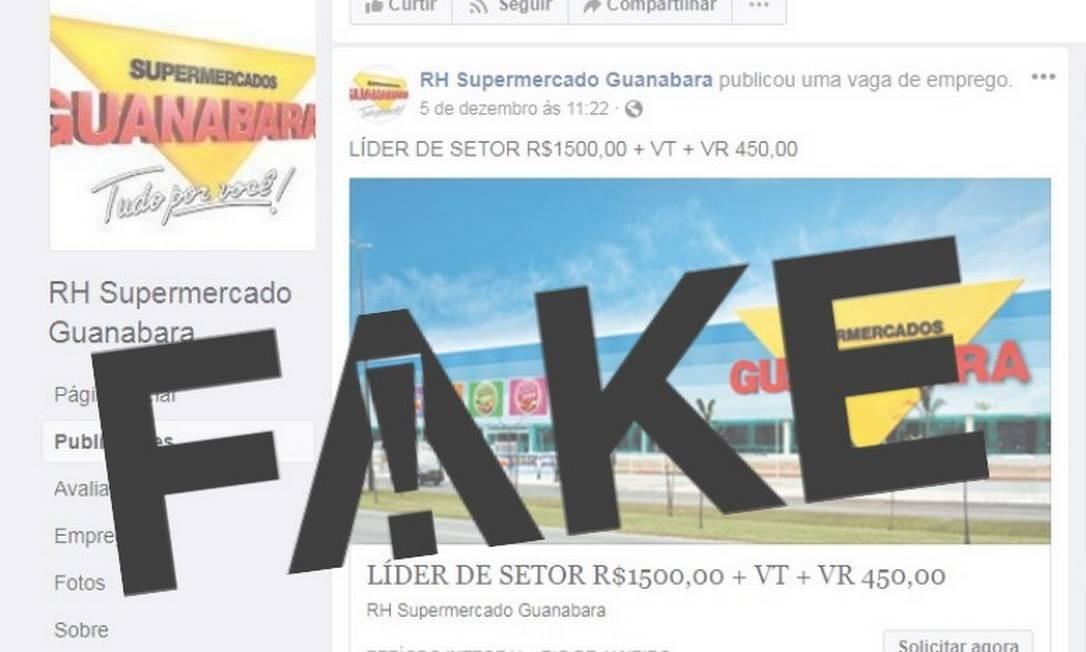 Página está oferecendo falsas vagas de emprego na rede de supermercados Foto: Reprodução