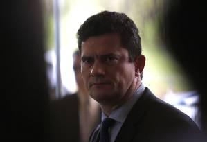 O futuro ministro da Justiça, Sergio Moro, durante entrevista coletiva no CCBB Foto: Jorge William/Agência O Globo/07-12-2018