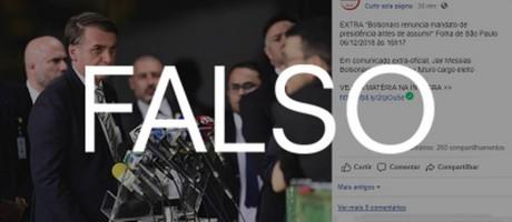 """Post com notícia falsa sobre Bolsonaro Foto: Reprodução (Aplicação """"Falso"""" feita pela redação)"""