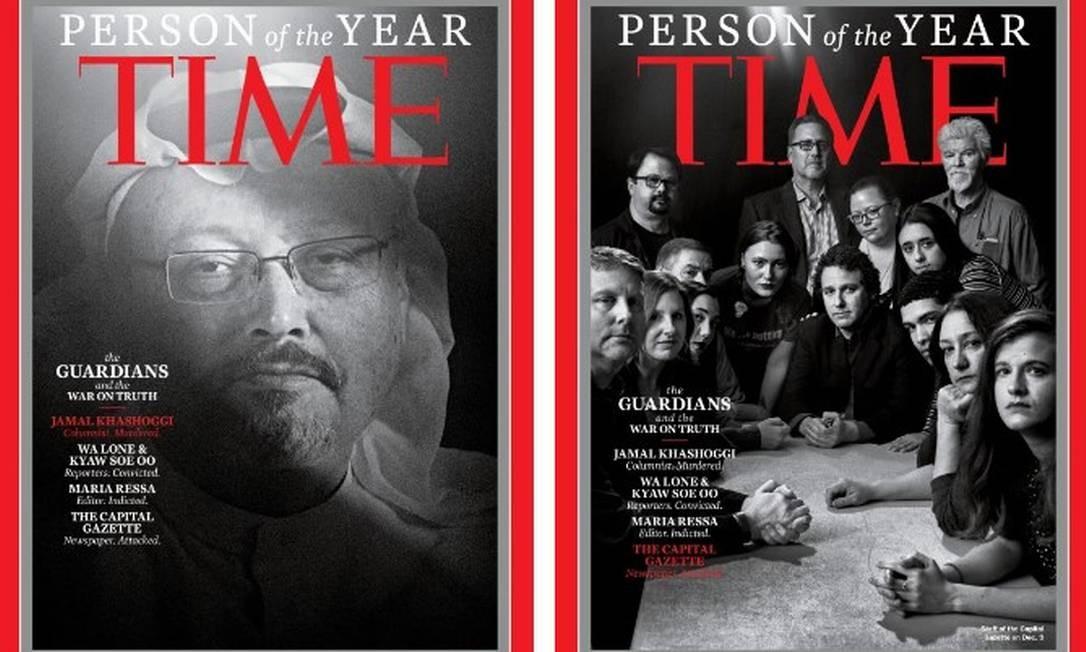 """Jamal Khashoggi e equipe do jornal """"The Capital Gazette"""" são capa da edição de """"Pessoa do Ano"""" da """"Time"""" Foto: Reprodução/Time"""