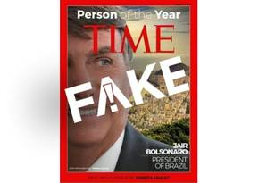 Capa falsa da Time traz Bolsonaro como personalidade do ano Foto: Reprodução