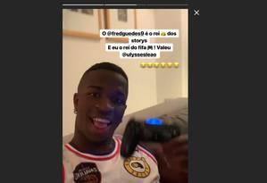 Vinícius Jr. em vídeo nas redes sociais Foto: Reprodução/Instagram