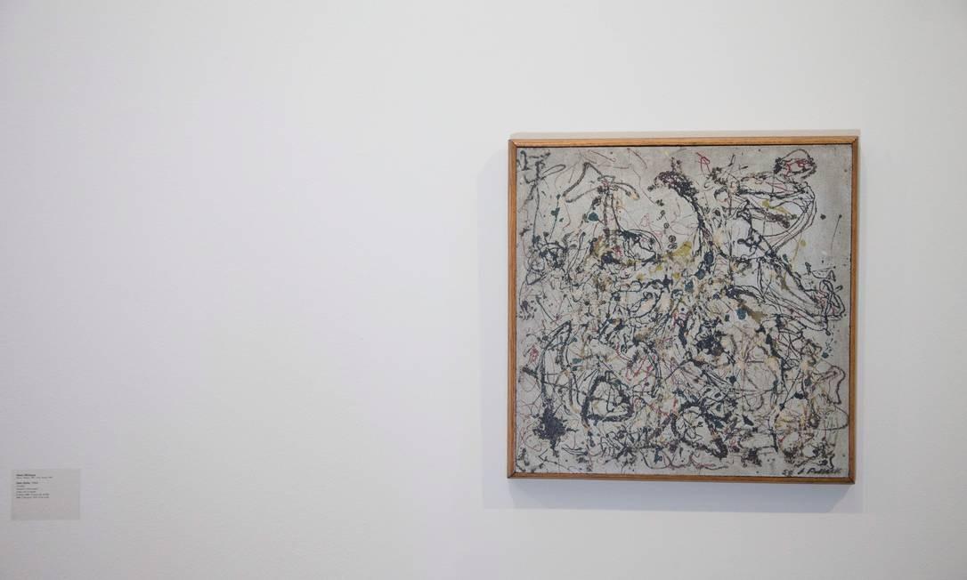 Tela 'Nº 16', de Jackson Pollock, que foi à leilão em Nova York Foto: Roberto Moreyra / Agência O Globo