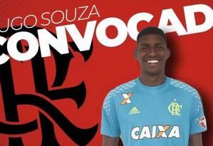 Hugo Souza, goleiro do Flamengo, foi chamado para a seleção sub-20, que disputará Sul-Americano da categoria Foto: Reprodução