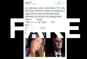 Postagem sobre condenação da jornalista é falsa Foto: Reprodução