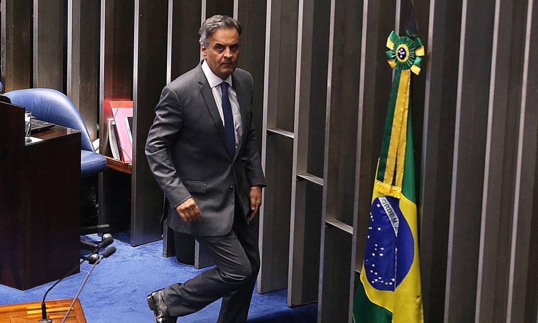 Aécio Neves (PSDB-MG) no plenário do Senado Foto: Ailton de Freitas / Agência O Globo