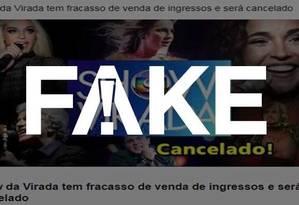 Postagem diz que Show da Virada foi cancelado, mas evento já aconteceu Foto: Reprodução