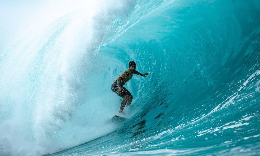 Gabriel Medina mostrou mais uma vez muito talento em Pipeline Foto: Ed Sloane / Divulgação WSL