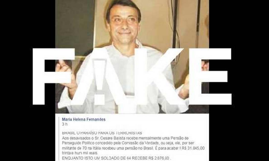 Cesare Battisti não recebe pensão de mais de R$ 31 mil Foto: Reprodução/Facebook