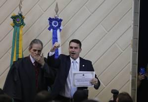 Flávio Bolsonaro é diplomado senador no Rio durante cerimônia no TJ-RJ Foto: Pablo Jacob / Pablo Jacob
