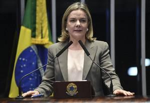 A senadora Gleisi Hoffmann (PT-PR), presidente do PT Foto: Jefferson Rudy/Agência Senado/28-11-2018