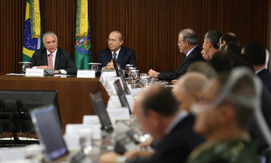O presidente Michel Temer comanda a última reunião ministerial de seu governo Foto: Divulgação