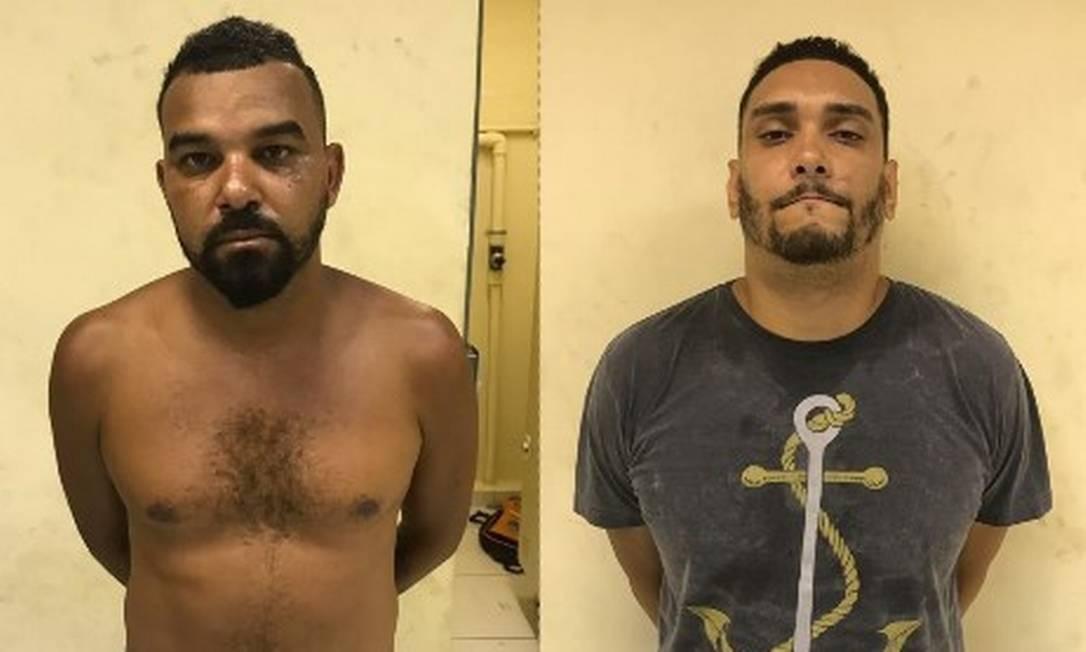 Dois dos bandidos presos após o assalto Foto: Divulgação