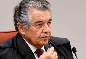 O ministro Marco Aurélio Mello, durante sessão do STF Foto: Evaristo Sá / AFP