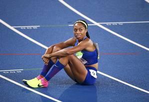 Allyson Felix depois de correr a final dos 400m no Rio, em 2016, quando ele conquistou a prata Foto: DAVID GRAY / Reuters