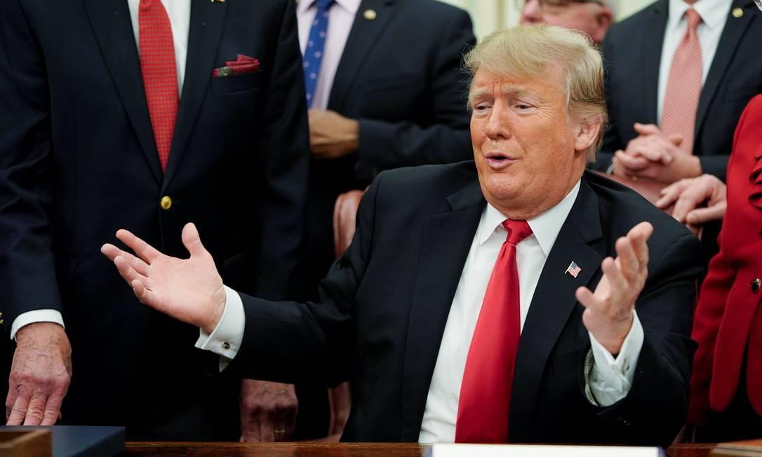 Presidente americano, Donald Trump, no Salão Oval da Casa Branca Foto: JOSHUA ROBERTS / REUTERS