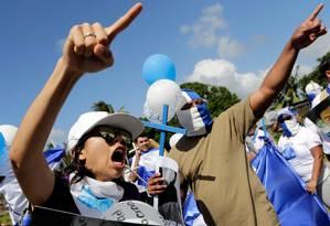 Protestos contra Ortega a 20 km da fronteira da Costa Rica com a Nicaragua Foto: INTI OCON / AFP