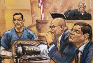 Equipe de ouro. Registro do julgamento de 'El Chapo' em Nova York Foto: JANE ROSENBERG / REPRODUÇÃO/REUTERS