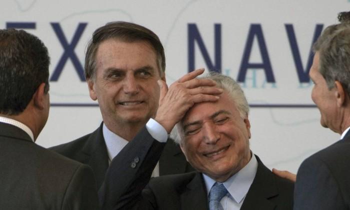 Michel Temer e Jair Bolsonaro Foto: MAURO PIMENTEL / AFP