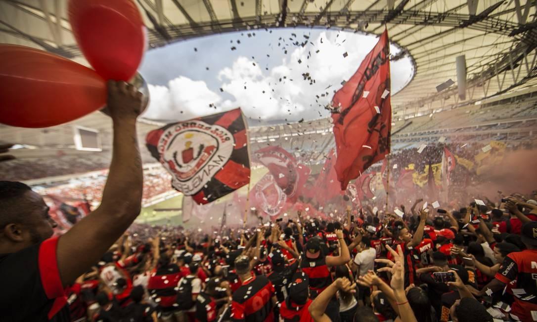 17/04/2018 - Copa Libertadores da América 2018 - Flamengo faz treino aberto para a torcida no Maracanã para a partida contra Santa Fé, que acontecerá com os portões fechados. Foto: Guito Moreto / Agência O Globo