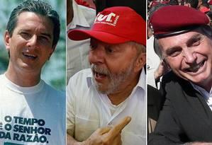 Com camiseta, boné ou boina militar, ex-presidentes e futuro governante mandam recados Foto: Arquivo O Globo