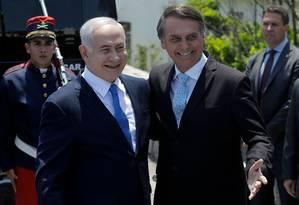 Netanyahu se reuniu com Bolsonaro no Forte de Copacabana, no Rio Foto: LEO CORREA / AFP