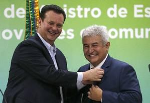 Kassab e Marcos Pontes, atual ministro da pasta que ele almeja assumir Foto: Jorge William / Agência O Globo