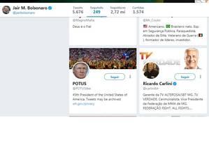 Entre os perfis que Bolsonaro segue, um fake do presidente americano Donald Trump Foto: Reprodução